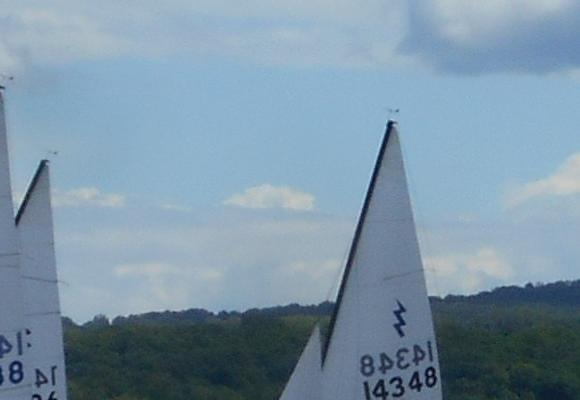 The Lightning fleet starts in a brisk breeze on the Tappan Zee of the Hudson River off of Nyack, New York.